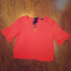 Topshop- Beautiful Coral Top. Size US 2